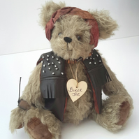 Biker Bear, Mohair Artist Bear, One of a kind Collectable, Rocker Bear