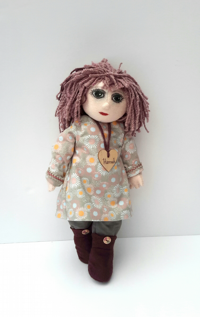 "Hannah, 16"" Cloth Doll, Collectable Doll by Bearlescent, One of a kind Doll"
