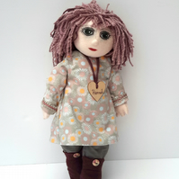 """REDUCED Hannah, 16"""" Cloth Doll, Collectable Doll by Bearlescent"""