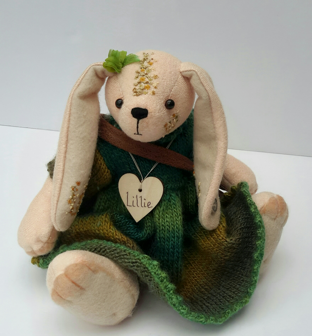 Dressed Rabbit, Collectable Artist Bear Bunny, hand embroidered rabbit doll
