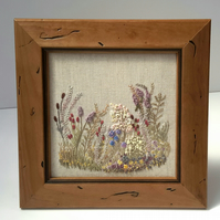 Hand Embroidery, Garden Flowers, Framed Embroidered Picture, Free standing
