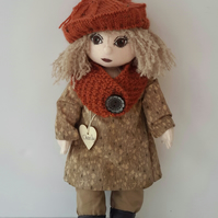 "Charity, 16"" 40cm One of a Kind Artist Doll, Handmade Cloth Doll, Character Doll"