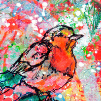 Printed Art Christmas Cards - Festive Robin Set