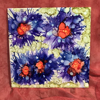 Bright blue alcohol ink flowers hand painted on ceramic tile, original art.