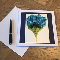 Bright blue flower alcohol ink blank greeting card