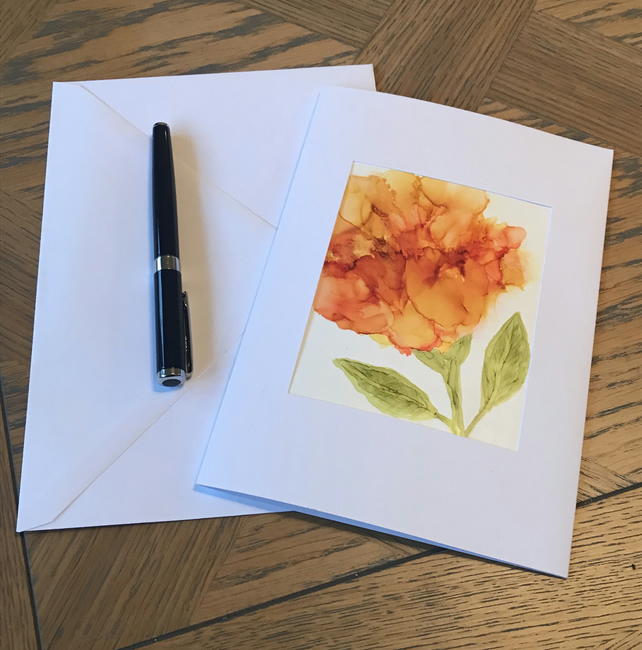 Hand Painted Blank Greeting Card