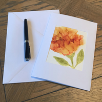 Orange rose hand painted blank greeting card