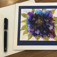 Bright purple flower alcohol ink blank greeting card