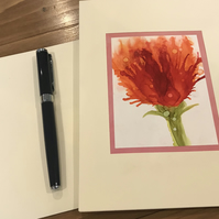 Red carnation flower blank greeting card