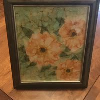 Peach roses hand painted in a wooden frame.