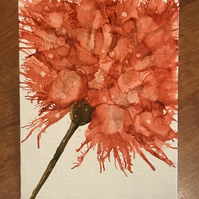 Red carnation hand painted on canvas board