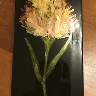 Hand painted peach alcohol ink tulip on black tile. Original art.