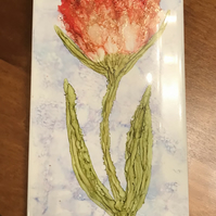 Hand painted alcohol ink red tulip on white tile. Original art.