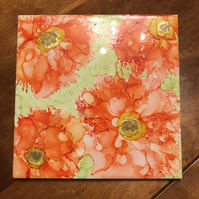 Pretty peach alcohol ink flower on large square tile, original art.