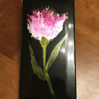 Hand painted pink alcohol ink tulip on black tile. Original art.