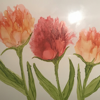 Hand painted alcohol ink trio of peach tulips on white tile. Original art.