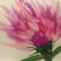 Pink alcohol ink flower on large tile