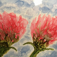 Pink alcohol ink flowers on large tile.