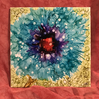 Bright blue and purple alcohol ink flower on large square tile, original art.