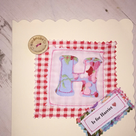 Personalised Handmade birthday  cards with fabric and buttons
