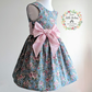 Girls Floral Tea Dress with Oversized Bow - Size 2