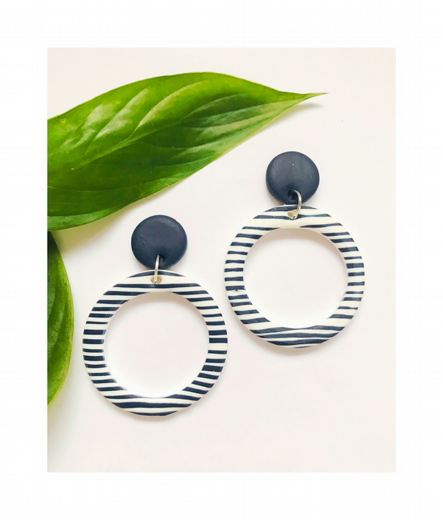 Blue and white striped hoop earrings