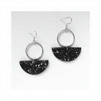 Black and silver crescent hoop earrings