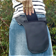Black Vinyl Hip Pouch