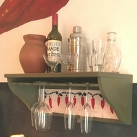 handmade wooden shelf for wine glasses and bottles