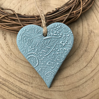 Hanging Heart Decoration - duck egg blue, clay heart, floral heart