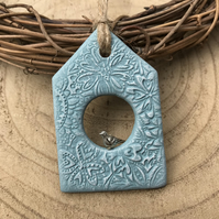 Birdhouse Decoration - hanging decoration, duck egg blue
