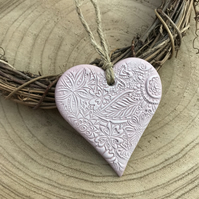 Pink Heart Decoration - hanging heart, clay heart