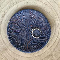 Ring Dish - Navy and Copper, Paisley