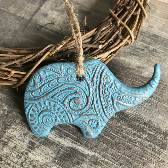 Turquoise and Copper Elephant Decoration - Mothers Day Gift