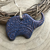 Elephant Decoration - Navy and Copper, Paisley