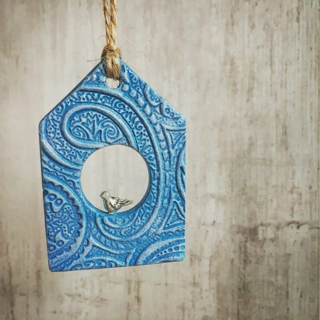Birdhouse Decoration - hanging decoration, turquoise, Mothers Day Gift