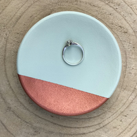Ring Dish - trinket dish, green and copper
