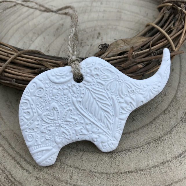 White Clay Floral Elephant Decoration - Mothers Day Gift