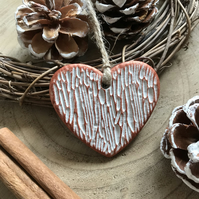 Wood Effect Clay Heart Decoration - Copper