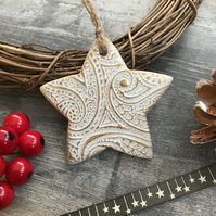 Gold Star Christmas Tree Decoration