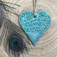 Peacock Hanging Heart Decoration - Mothers Day Gift