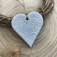 Grey and White Floral Hanging Heart Decoration