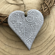 Heather Grey Floral Hanging Heart Decoration