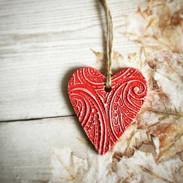 Red Hanging Heart Decoration - Mothers Day Gift