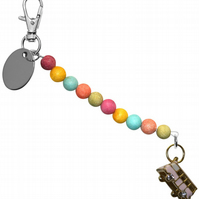 colourful beads beautiful camper van bus keyring handbag charm gift pouch BD3LT.