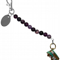 purple beads beautiful camper van bus keyring handbag charm gift pouch BD5LT95