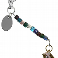 colourful beads beautiful camper van bus keyring handbag charm gift pouch
