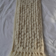 Cream woollen knitted lace scarf