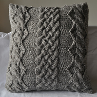 Grey aran hand knitted cable and diamond cushion cover