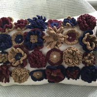 Crocheted chenille flower cushion cover